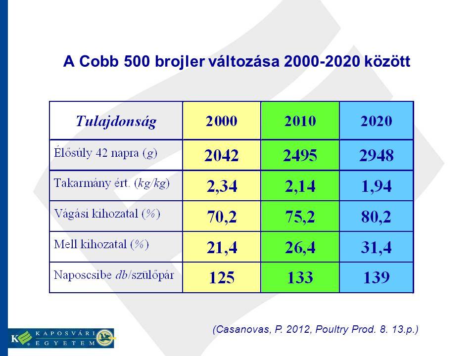 A Cobb 500 brojler változása 2000-2020 között