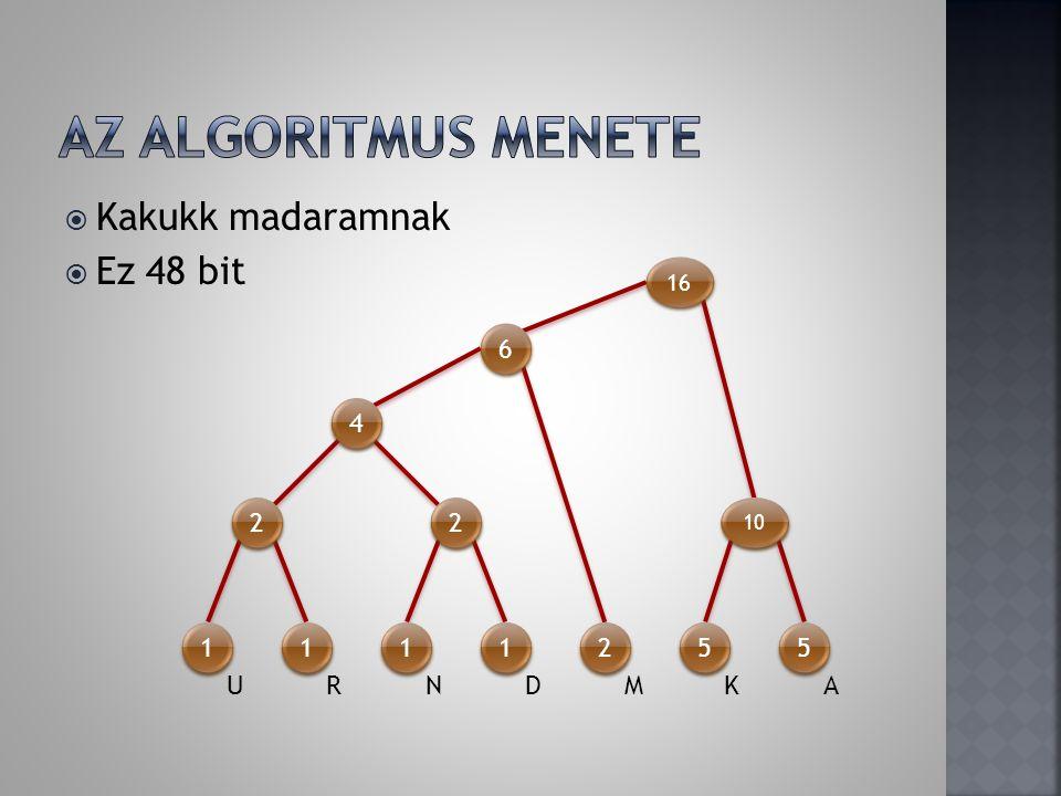 Az algoritmus menete Kakukk madaramnak Ez 48 bit 6 4 2 2 1 1 1 1 2 5 5