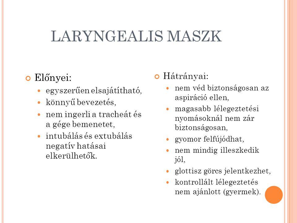 LARYNGEALIS MASZK Előnyei: Hátrányai: egyszerűen elsajátítható,