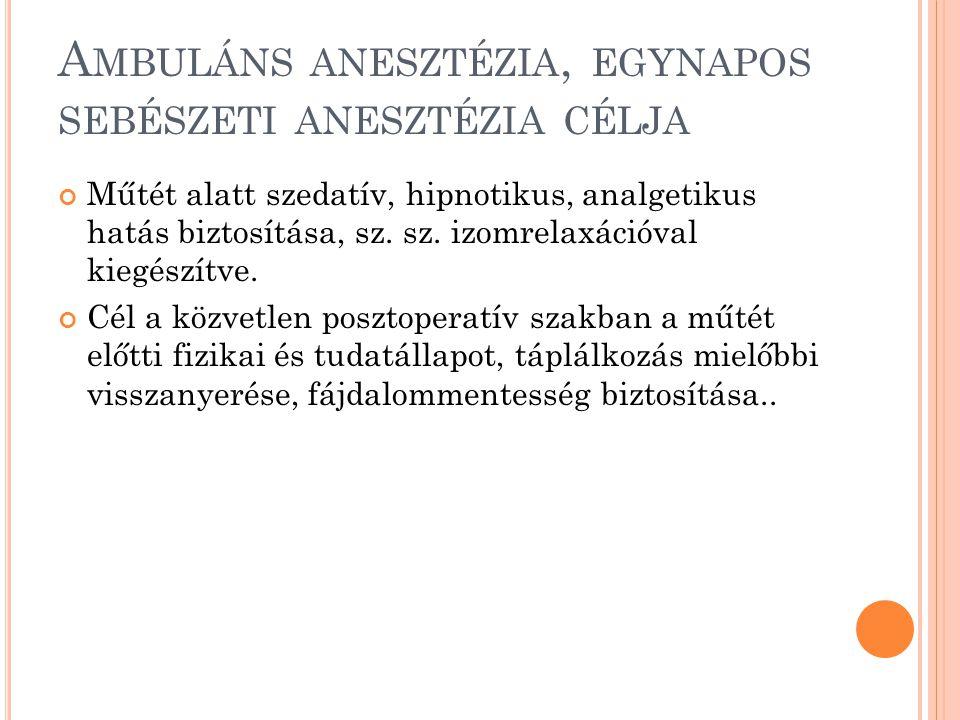 Ambuláns anesztézia, egynapos sebészeti anesztézia célja