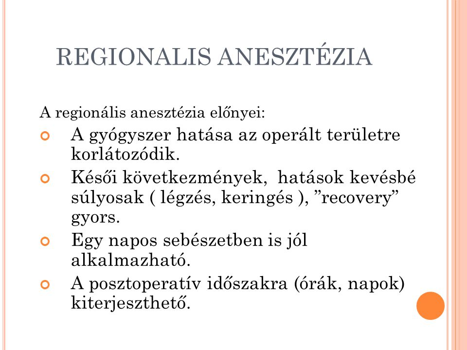 REGIONALIS ANESZTÉZIA