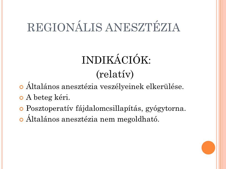 REGIONÁLIS ANESZTÉZIA