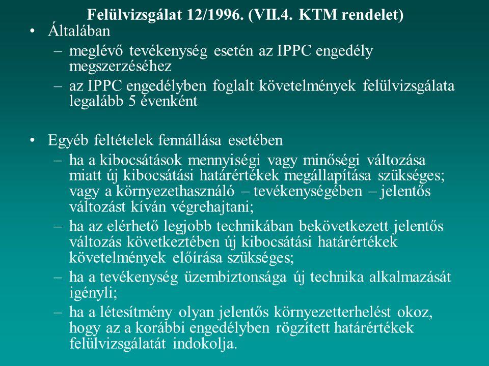 Felülvizsgálat 12/1996. (VII.4. KTM rendelet)