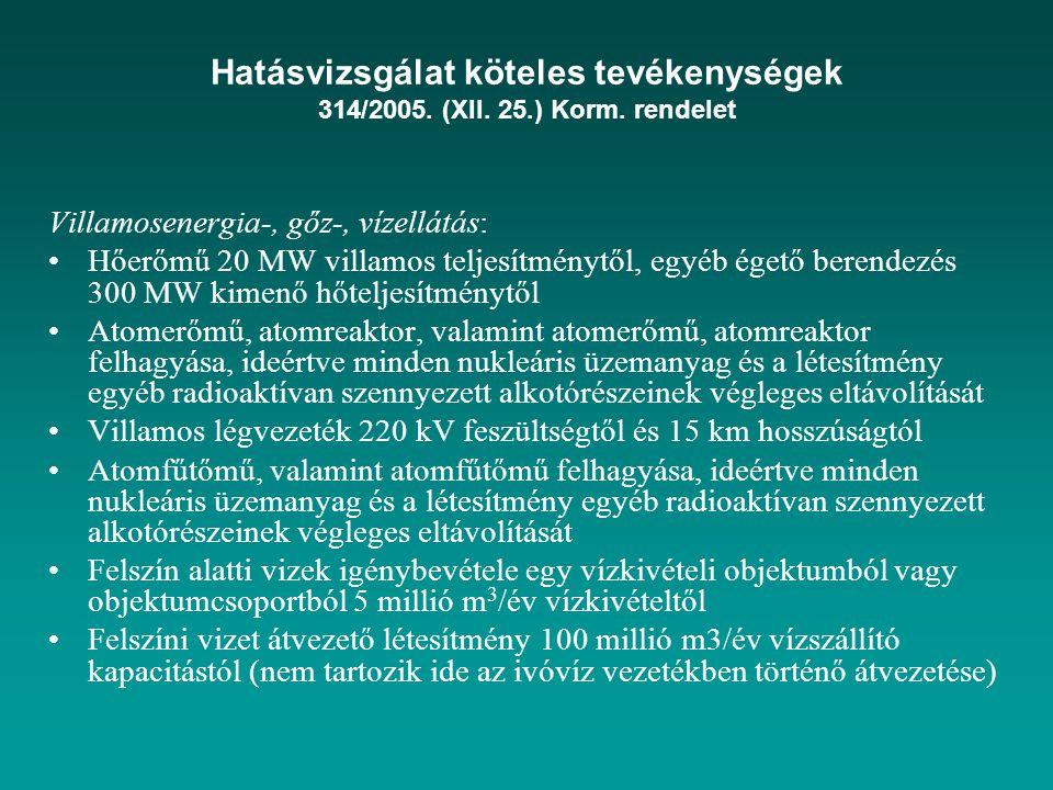 Hatásvizsgálat köteles tevékenységek 314/2005. (XII. 25. ) Korm