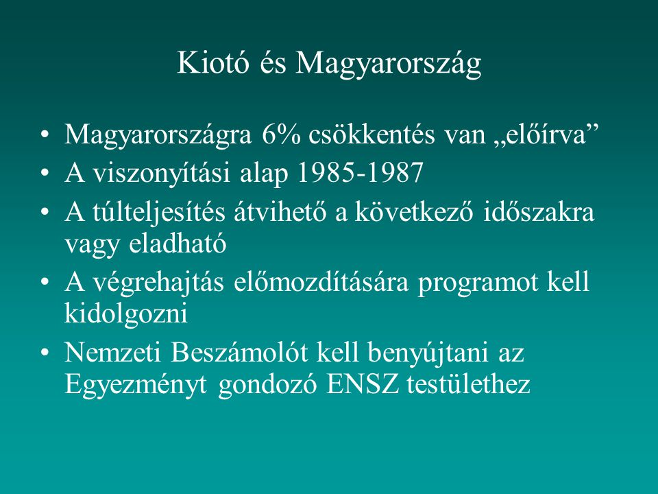 """Kiotó és Magyarország Magyarországra 6% csökkentés van """"előírva"""