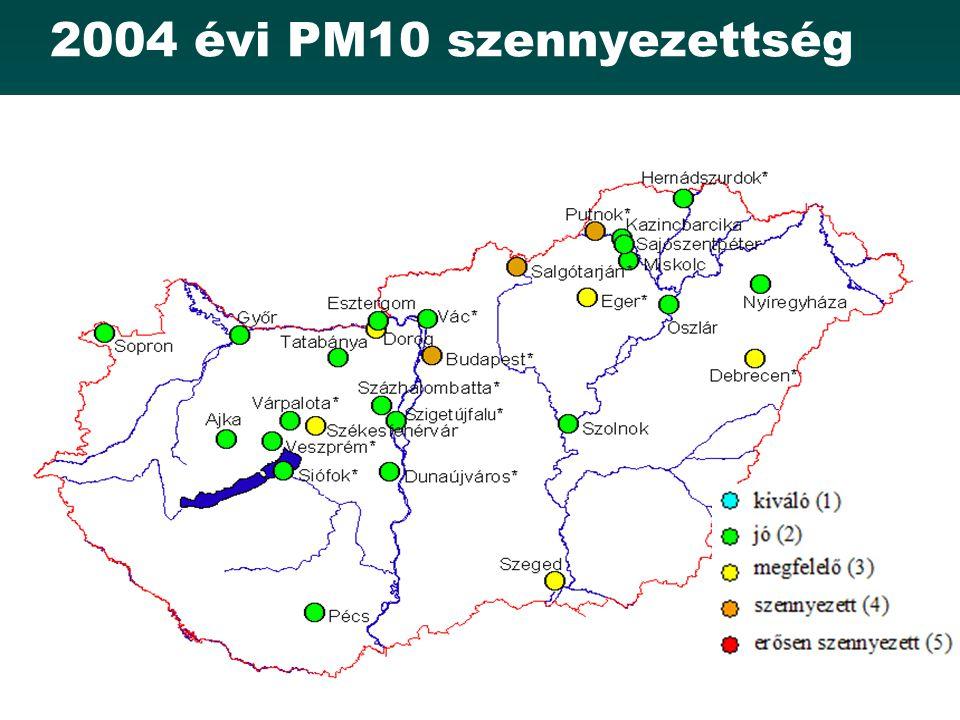 2004 évi PM10 szennyezettség
