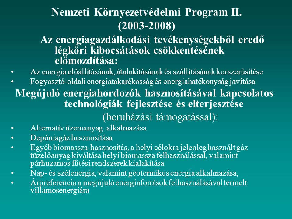 Nemzeti Környezetvédelmi Program II. (2003-2008)