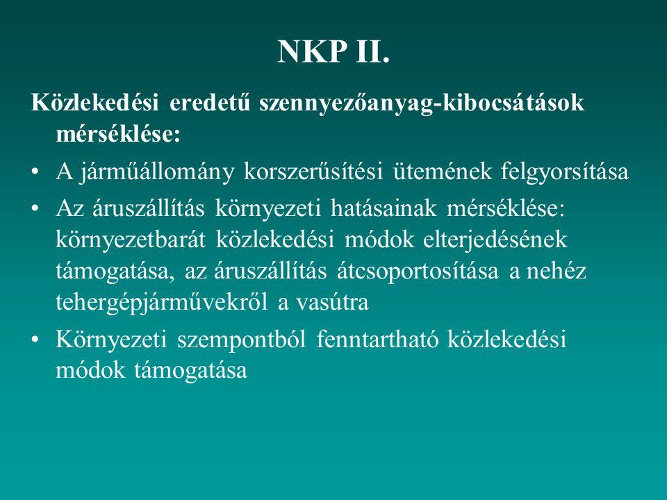 NKP II. Közlekedési eredetű szennyezőanyag-kibocsátások mérséklése: