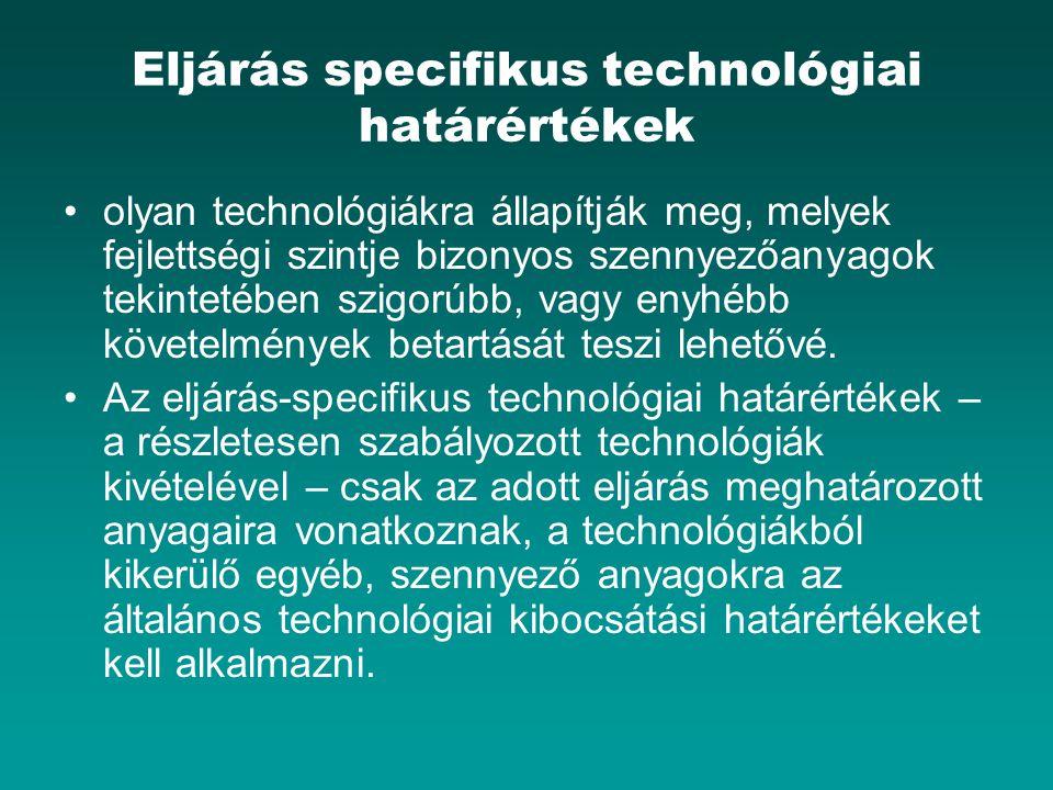 Eljárás specifikus technológiai határértékek