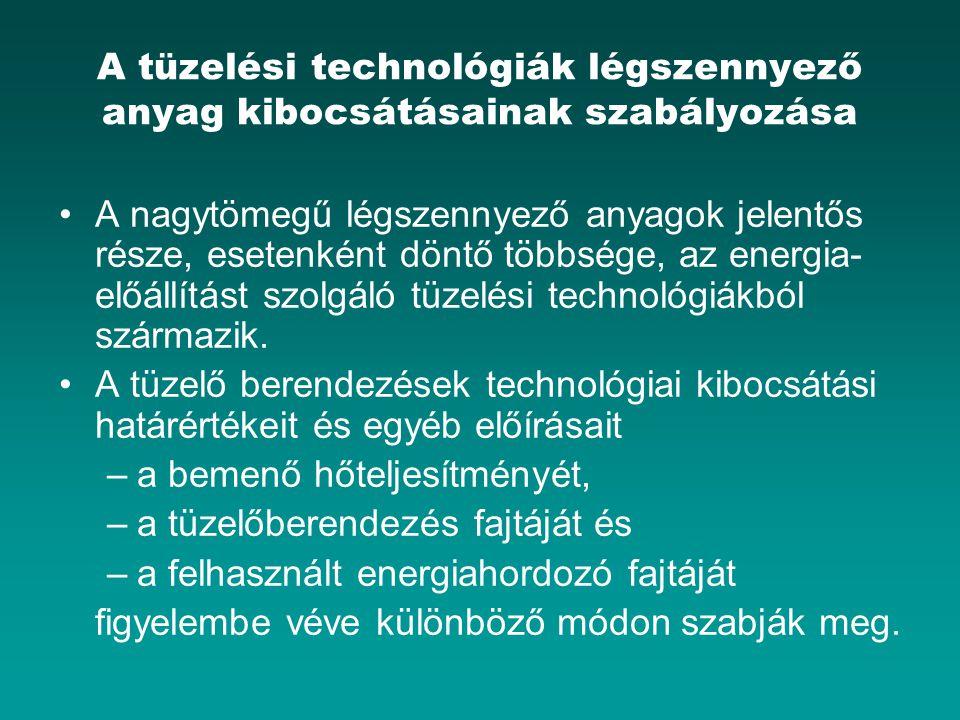 A tüzelési technológiák légszennyező anyag kibocsátásainak szabályozása