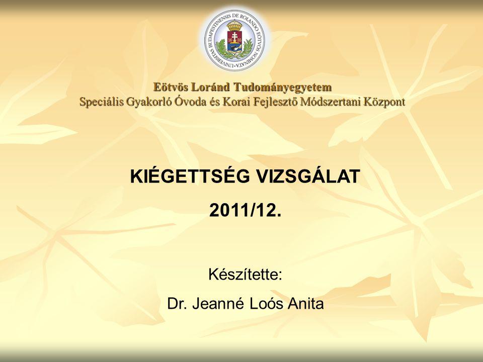KIÉGETTSÉG VIZSGÁLAT 2011/12.