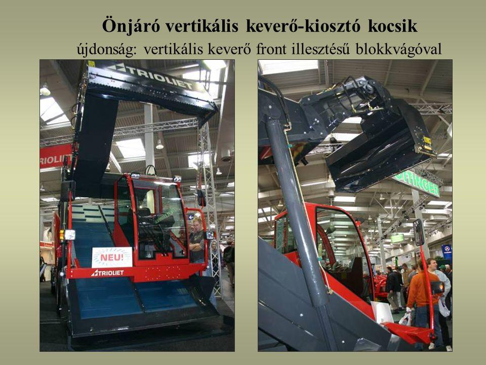 Önjáró vertikális keverő-kiosztó kocsik újdonság: vertikális keverő front illesztésű blokkvágóval