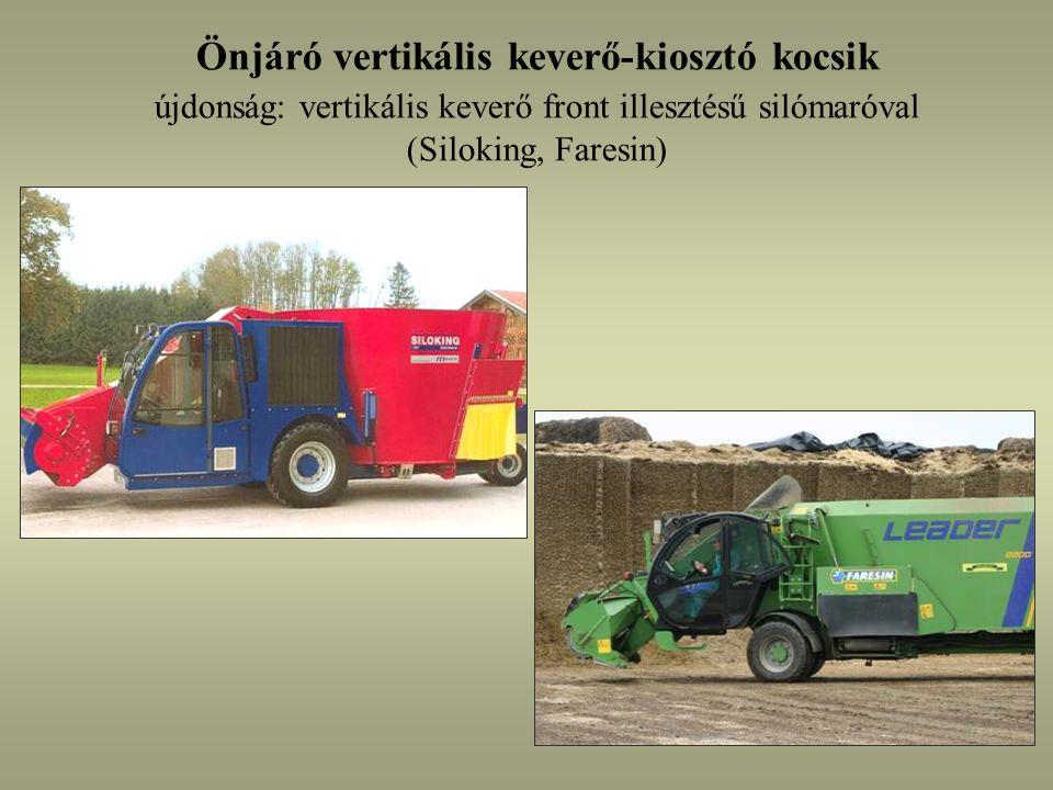 Önjáró vertikális keverő-kiosztó kocsik újdonság: vertikális keverő front illesztésű silómaróval (Siloking, Faresin)