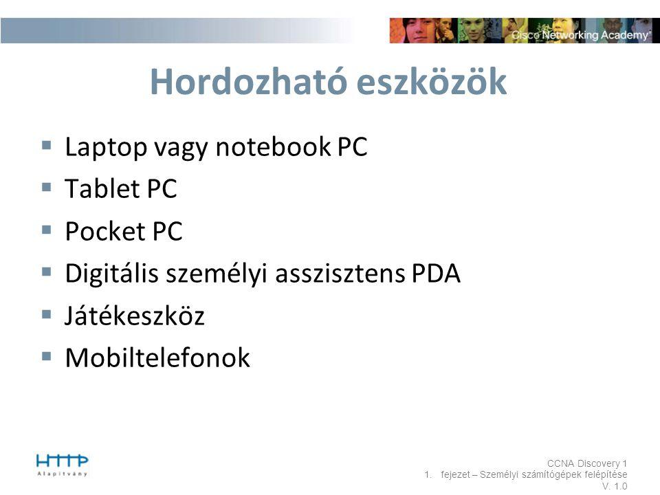 Hordozható eszközök Laptop vagy notebook PC Tablet PC Pocket PC