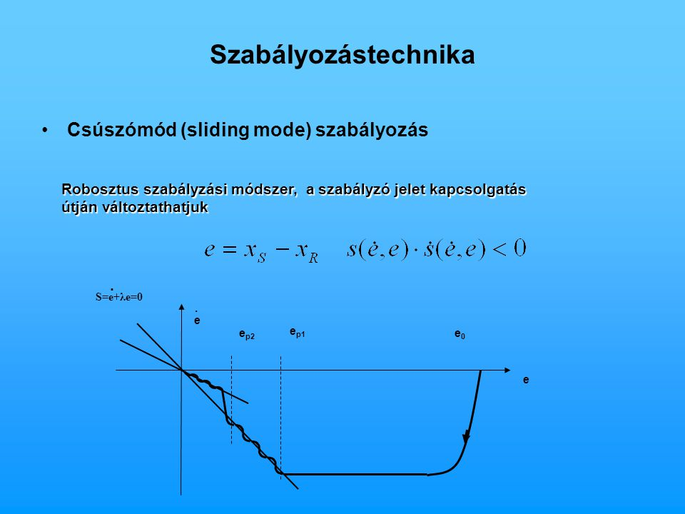 Szabályozástechnika Csúszómód (sliding mode) szabályozás