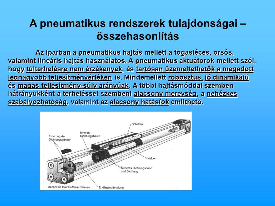A pneumatikus rendszerek tulajdonságai – összehasonlítás
