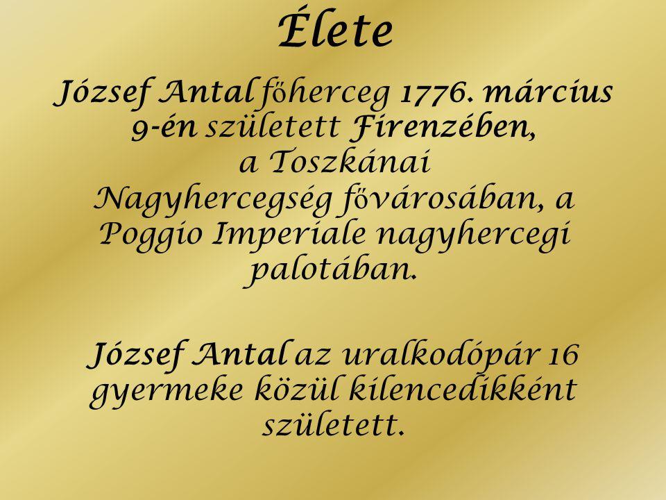 Élete József Antal főherceg 1776. március 9-én született Firenzében, a Toszkánai Nagyhercegség fővárosában, a Poggio Imperiale nagyhercegi palotában.