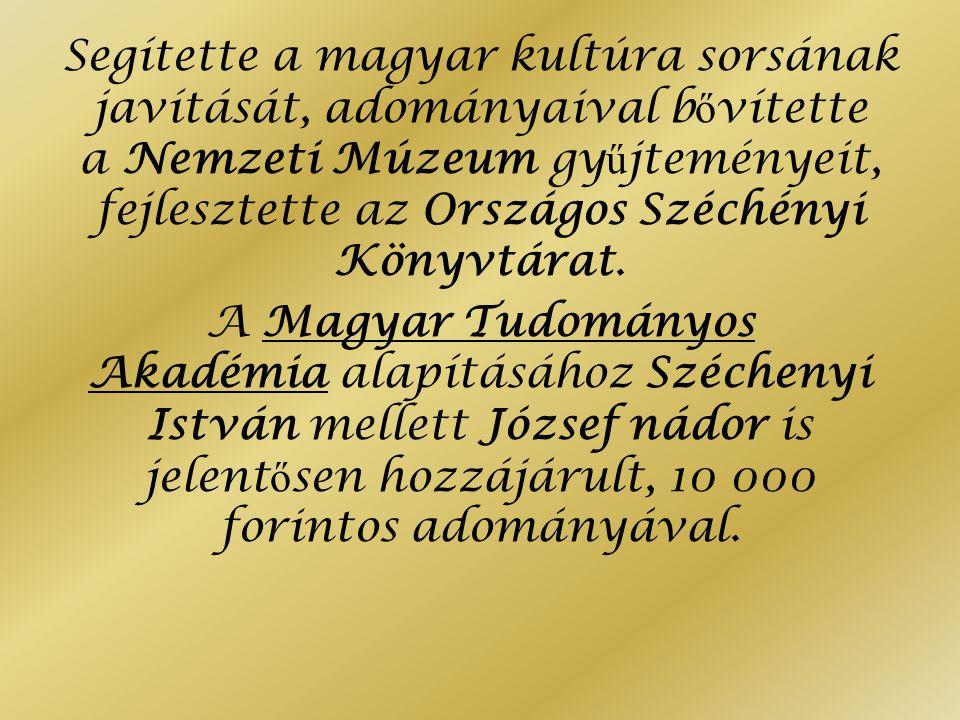 Segítette a magyar kultúra sorsának javítását, adományaival bővítette a Nemzeti Múzeum gyűjteményeit, fejlesztette az Országos Széchényi Könyvtárat.