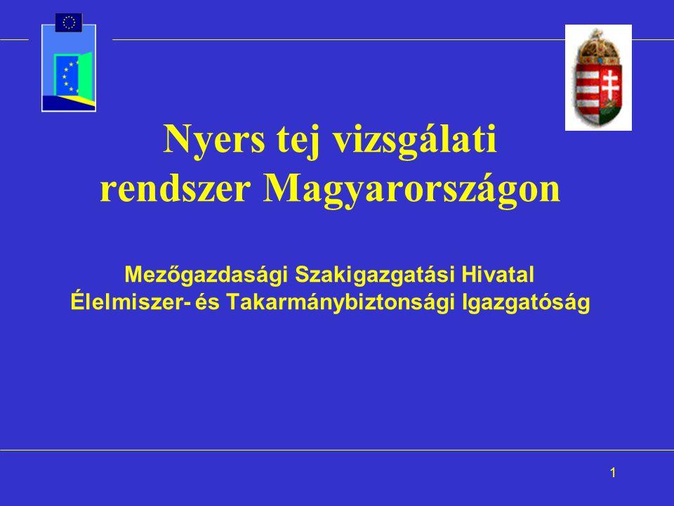 Nyers tej vizsgálati rendszer Magyarországon Mezőgazdasági Szakigazgatási Hivatal Élelmiszer- és Takarmánybiztonsági Igazgatóság
