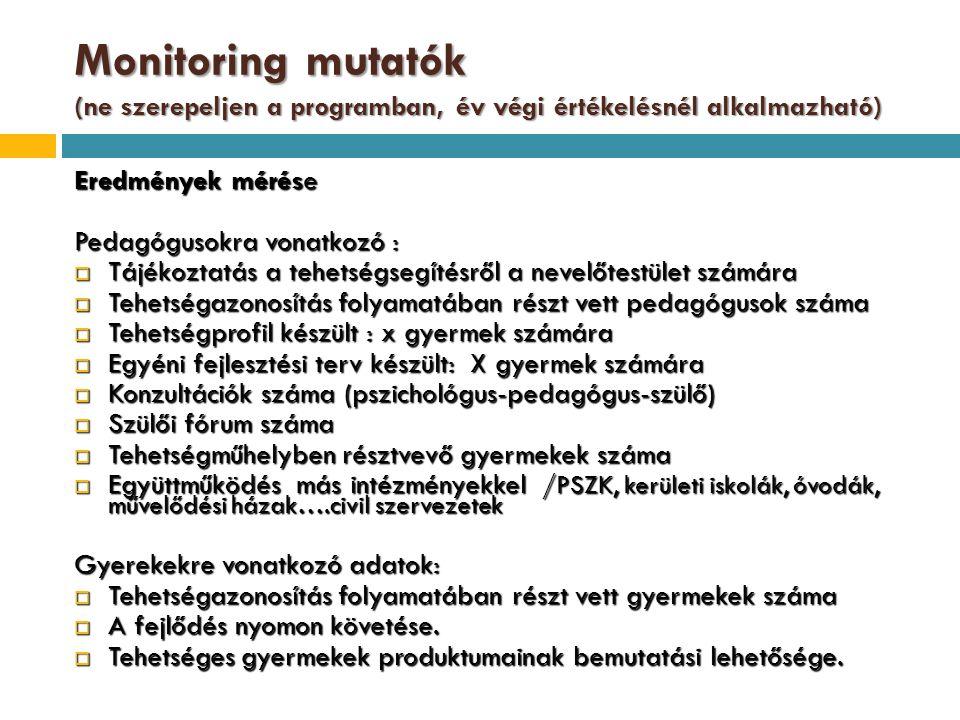 Monitoring mutatók (ne szerepeljen a programban, év végi értékelésnél alkalmazható)