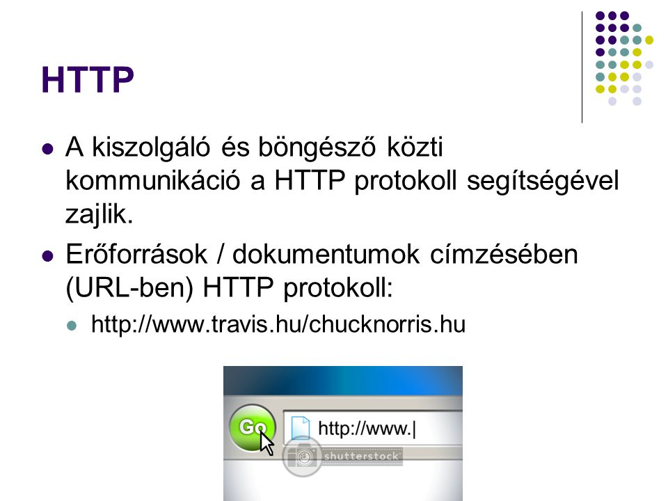 HTTP A kiszolgáló és böngésző közti kommunikáció a HTTP protokoll segítségével zajlik.