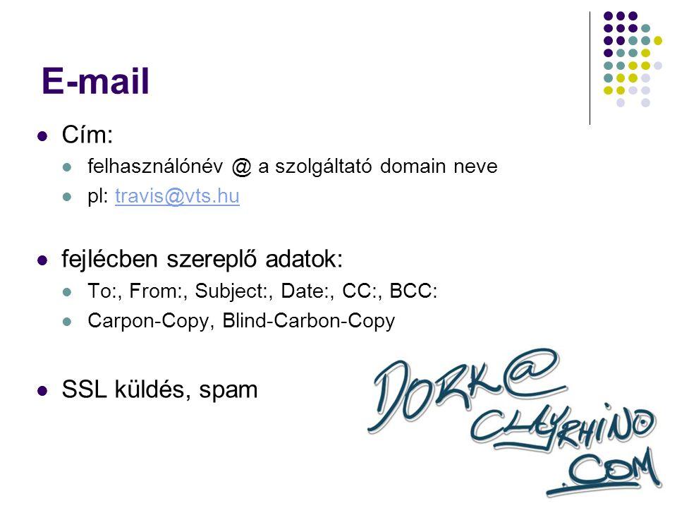 E-mail Cím: fejlécben szereplő adatok: SSL küldés, spam