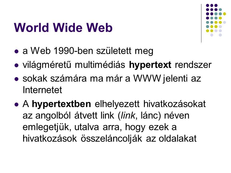 World Wide Web a Web 1990-ben született meg