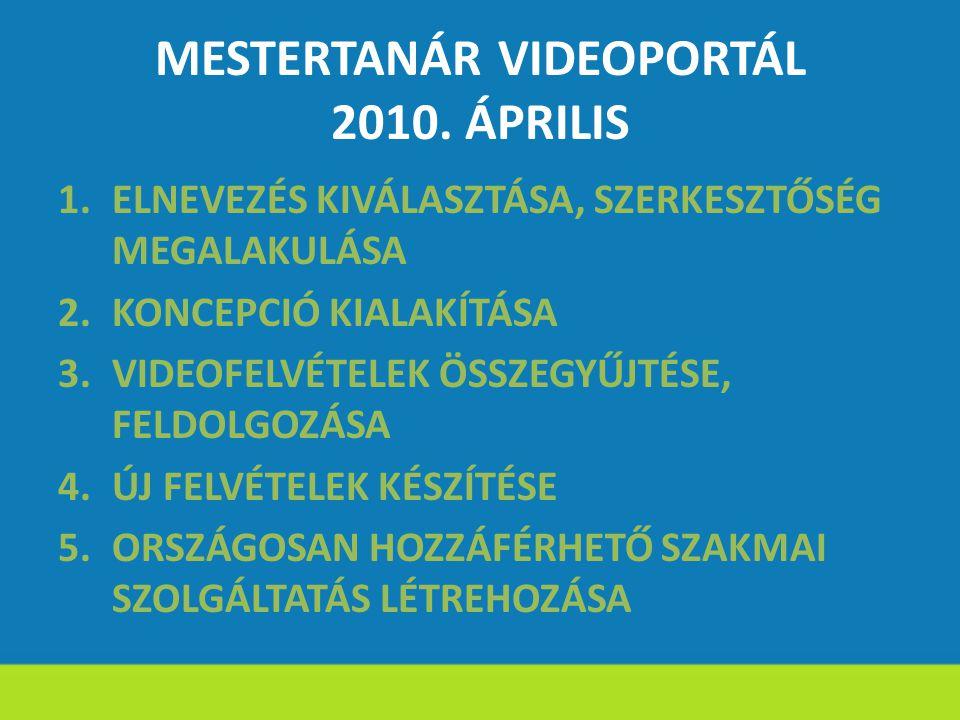 MESTERTANÁR VIDEOPORTÁL 2010. ÁPRILIS