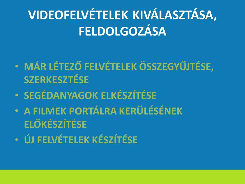 VIDEOFELVÉTELEK KIVÁLASZTÁSA, FELDOLGOZÁSA