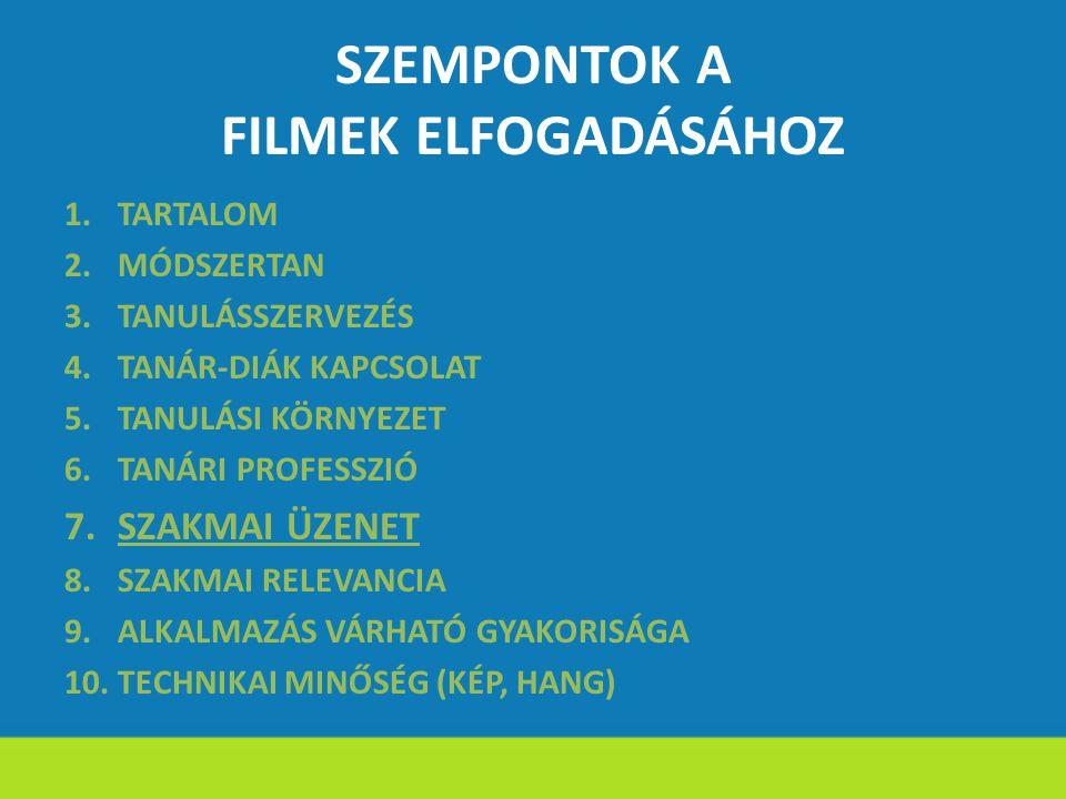 SZEMPONTOK A FILMEK ELFOGADÁSÁHOZ