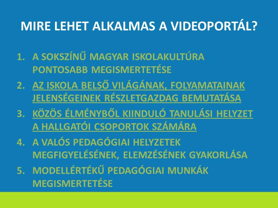 MIRE LEHET ALKALMAS A VIDEOPORTÁL