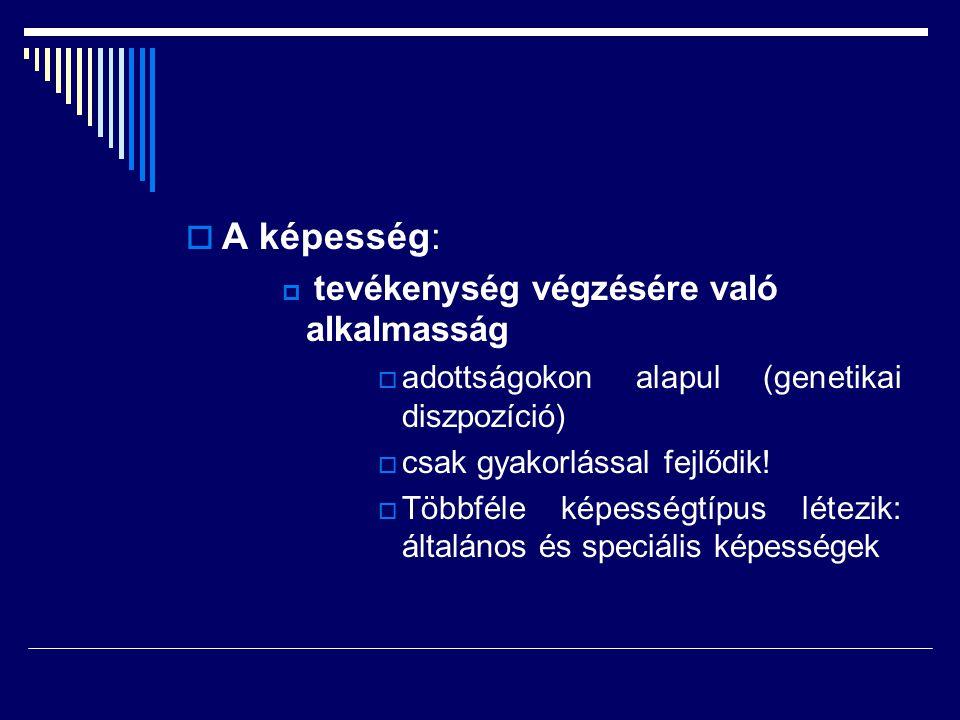 A képesség: adottságokon alapul (genetikai diszpozíció)