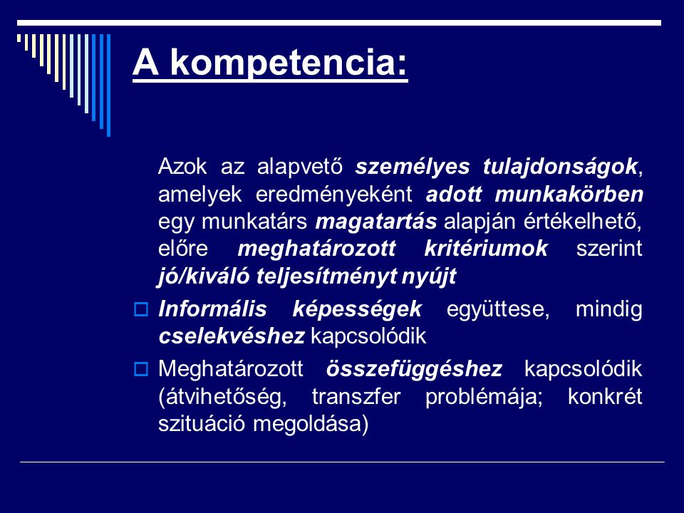 A kompetencia:
