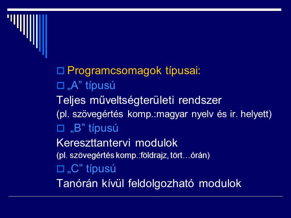 """Programcsomagok típusai: """"A típusú Teljes műveltségterületi rendszer"""