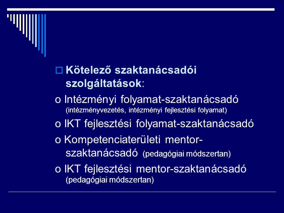 Kötelező szaktanácsadói szolgáltatások: