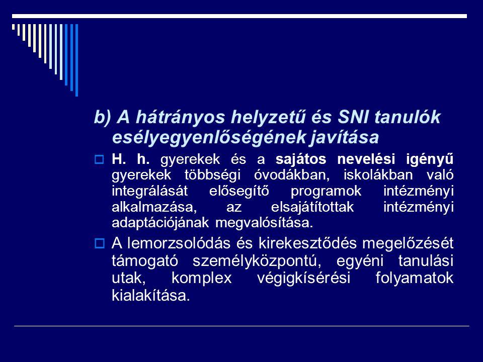b) A hátrányos helyzetű és SNI tanulók esélyegyenlőségének javítása