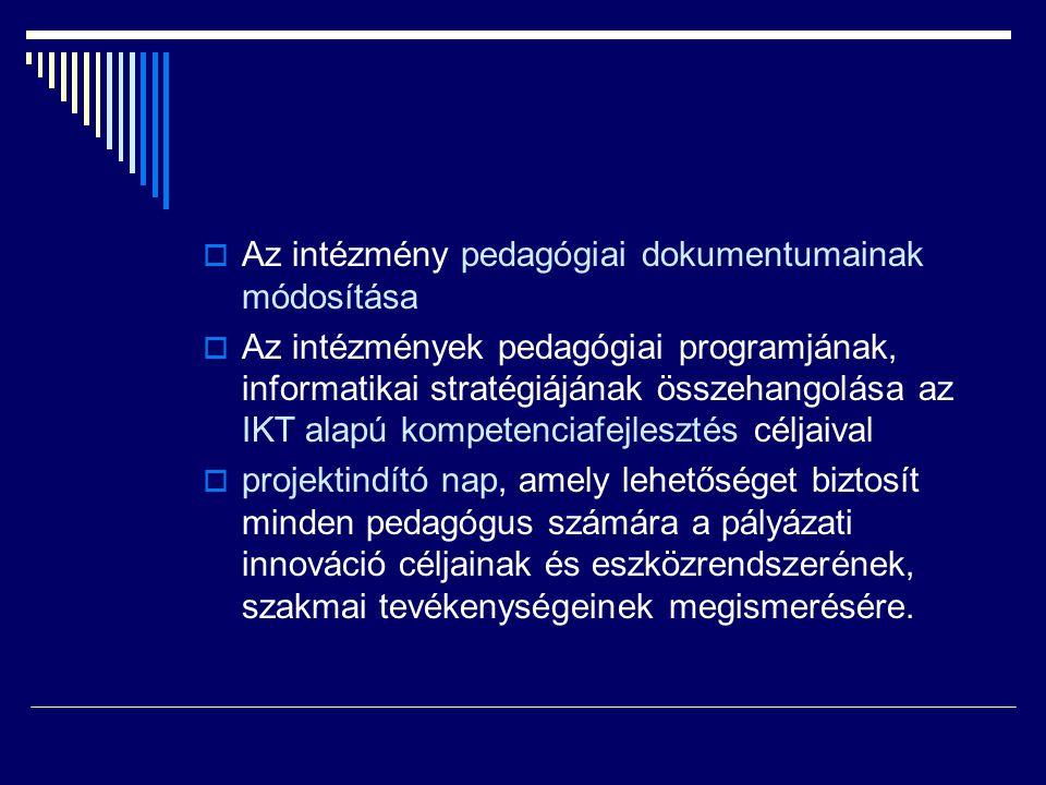 Az intézmény pedagógiai dokumentumainak módosítása