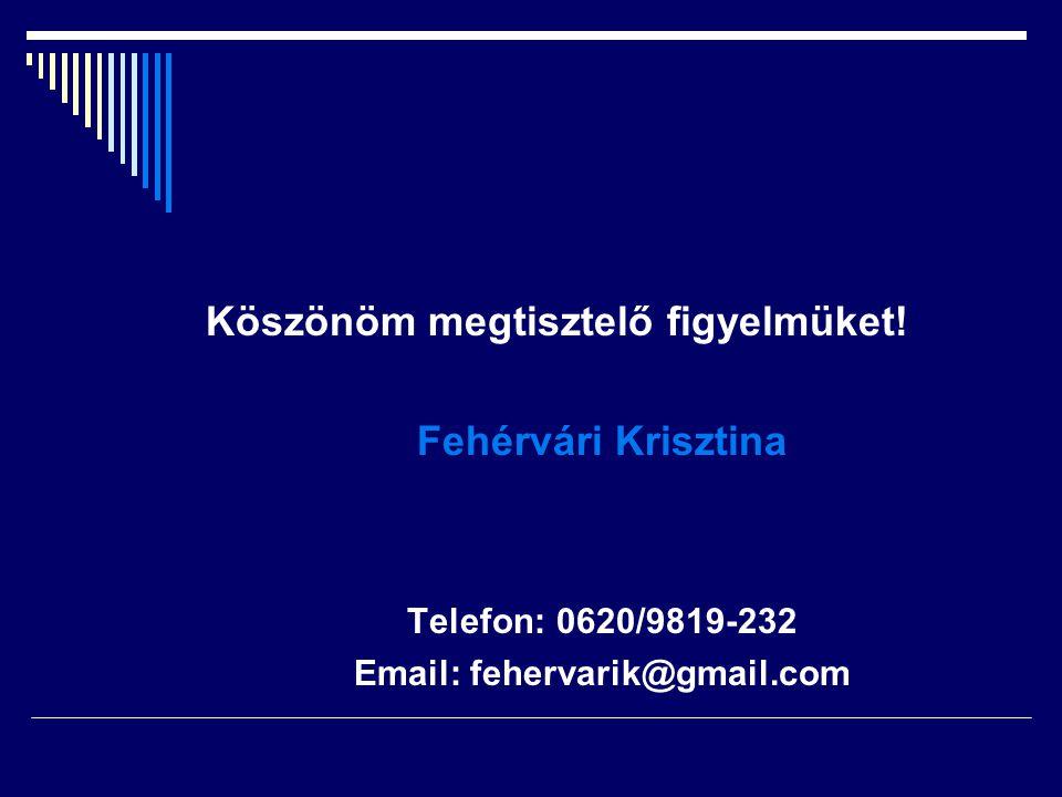 Köszönöm megtisztelő figyelmüket! Fehérvári Krisztina