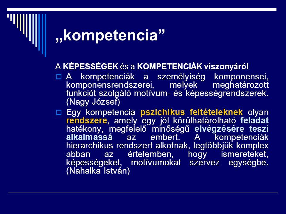 """""""kompetencia A KÉPESSÉGEK és a KOMPETENCIÁK viszonyáról."""