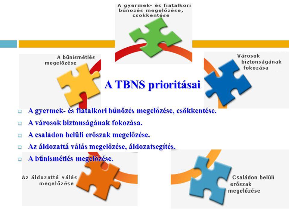 A TBNS prioritásai A gyermek- és fiatalkori bűnözés megelőzése, csökkentése. A városok biztonságának fokozása.