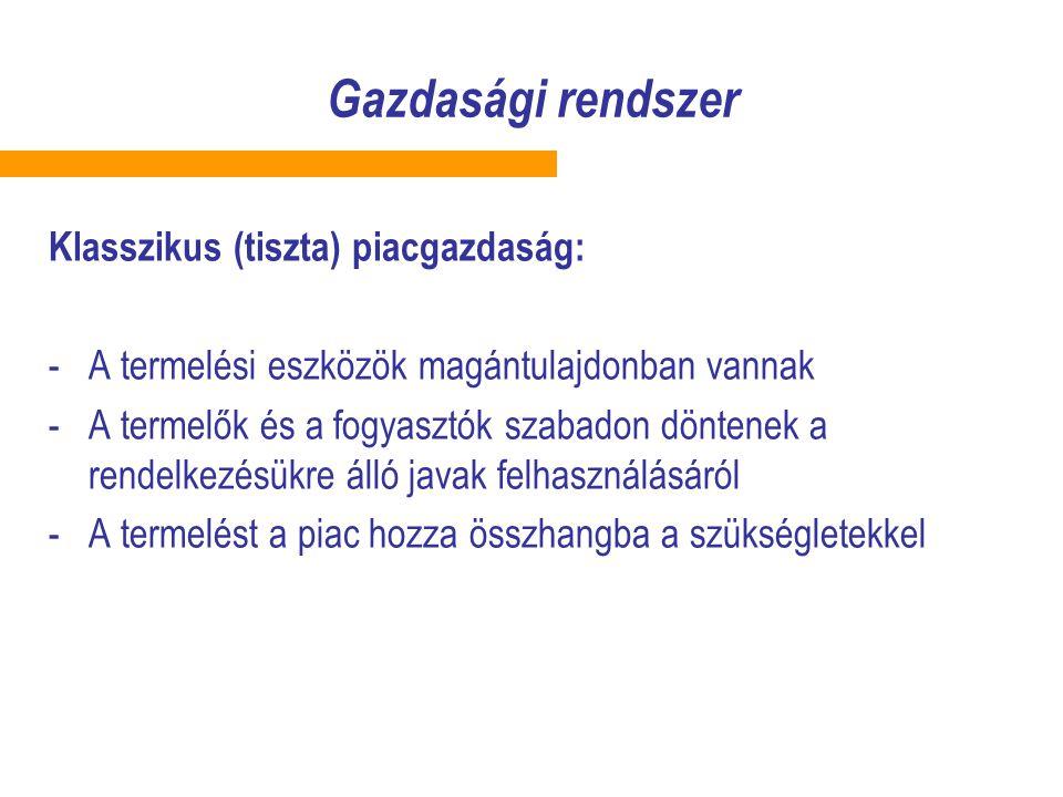 Gazdasági rendszer Klasszikus (tiszta) piacgazdaság: