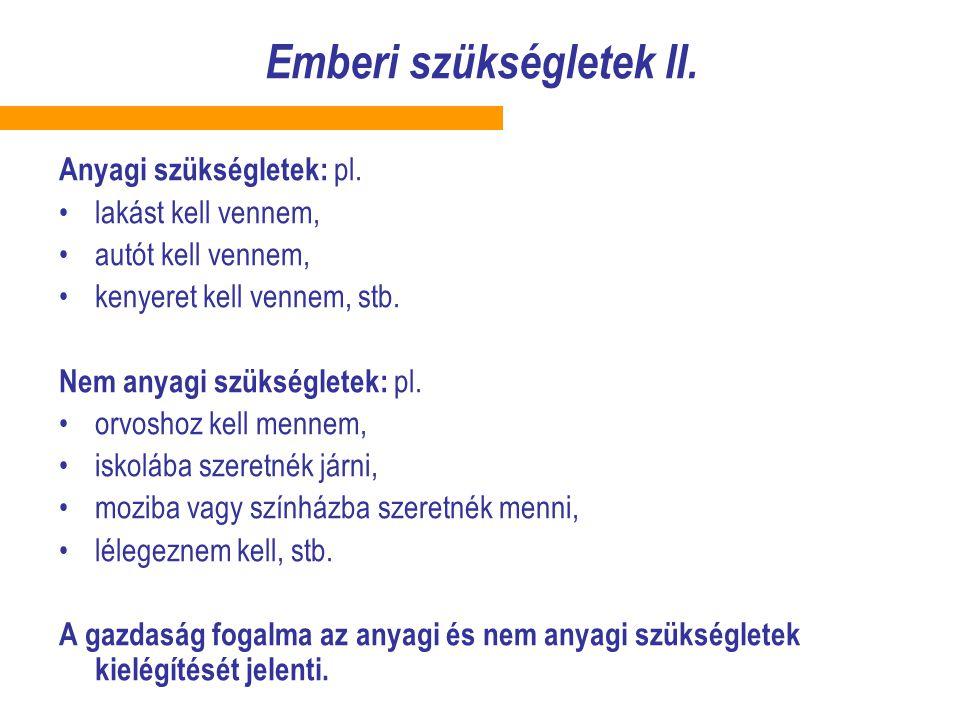 Emberi szükségletek II.