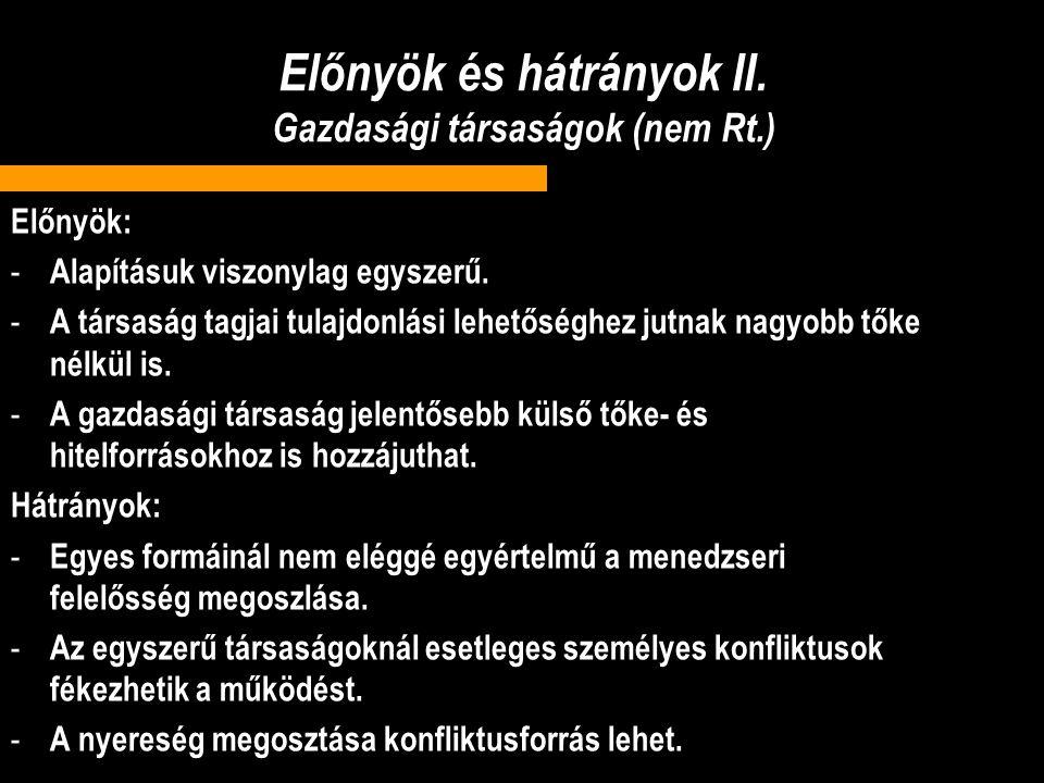 Előnyök és hátrányok II. Gazdasági társaságok (nem Rt.)