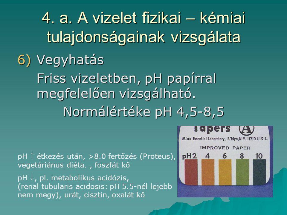 4. a. A vizelet fizikai – kémiai tulajdonságainak vizsgálata