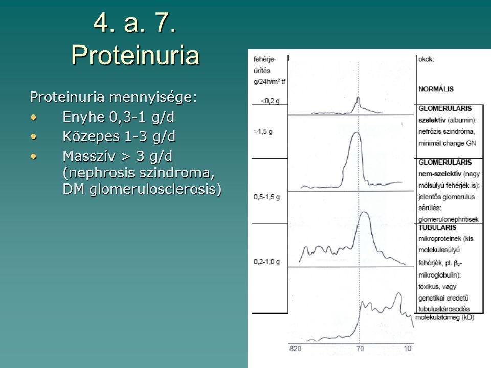 4. a. 7. Proteinuria Proteinuria mennyisége: Enyhe 0,3-1 g/d