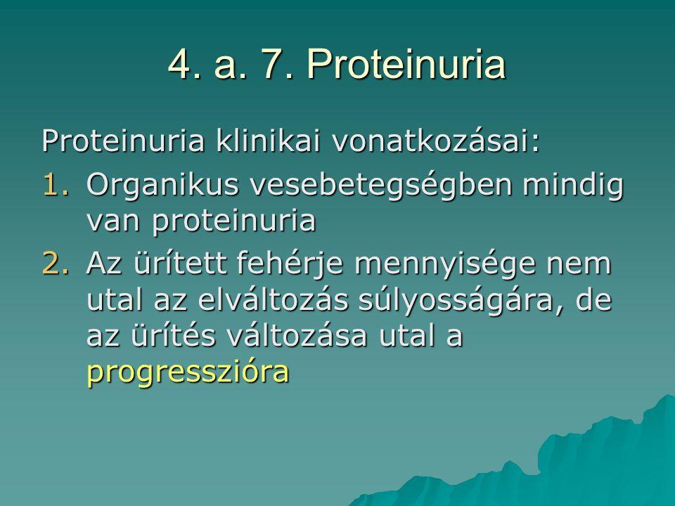 4. a. 7. Proteinuria Proteinuria klinikai vonatkozásai: