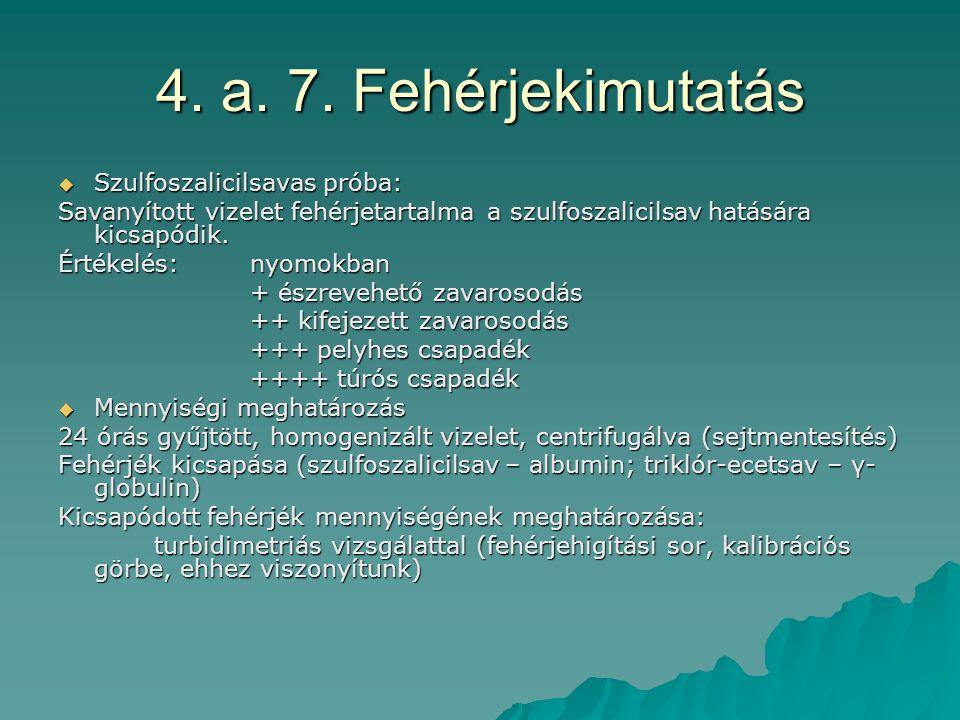 4. a. 7. Fehérjekimutatás Szulfoszalicilsavas próba:
