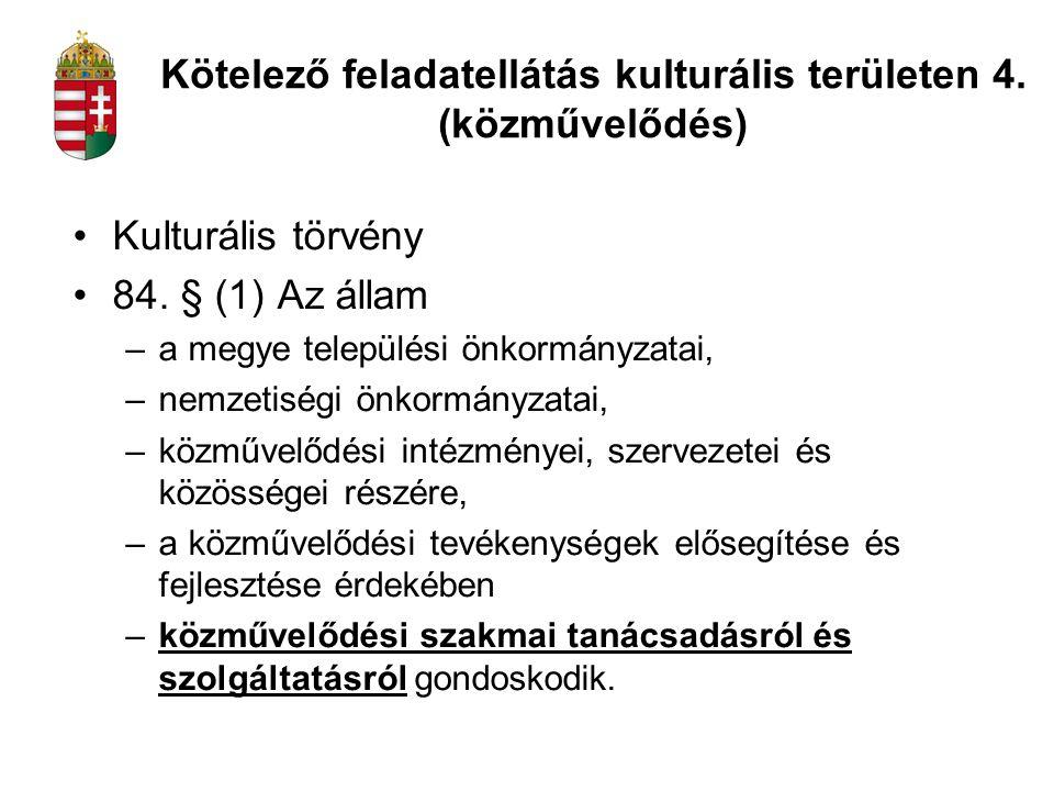 Kötelező feladatellátás kulturális területen 4. (közművelődés)