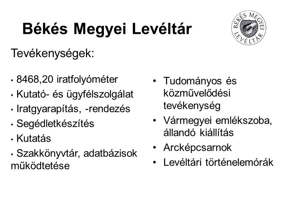 Békés Megyei Levéltár Tevékenységek: 8468,20 iratfolyóméter