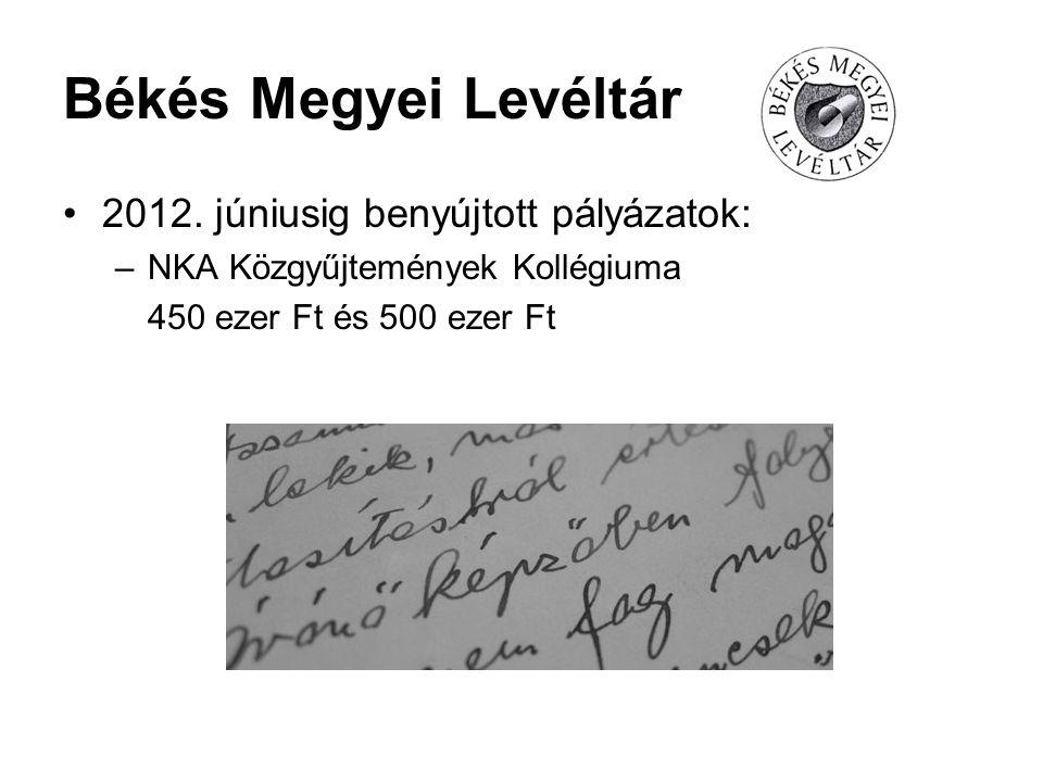 Békés Megyei Levéltár 2012. júniusig benyújtott pályázatok: